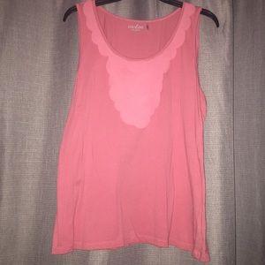 Caslon Salmon Scallop-Accent Sleeveless T-Shirt